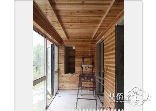 阳台顶面杉木免漆集成吊顶