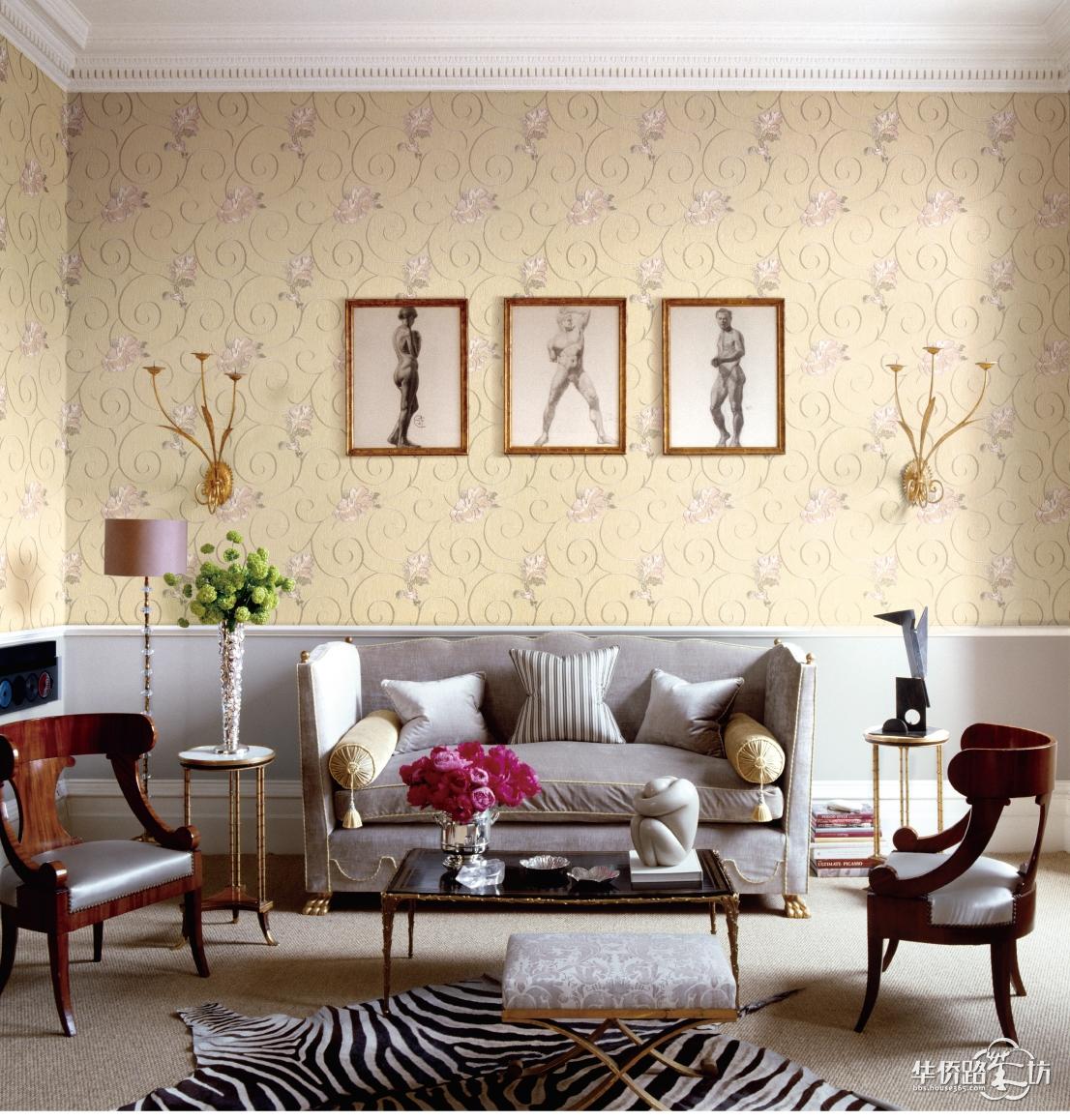 欧式金色绣花壁布风格装修图片