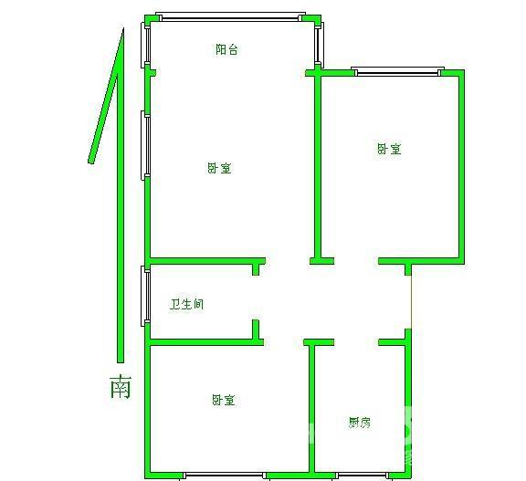 彩虹城3室2厅1卫86平米毛坯产权房2016年建