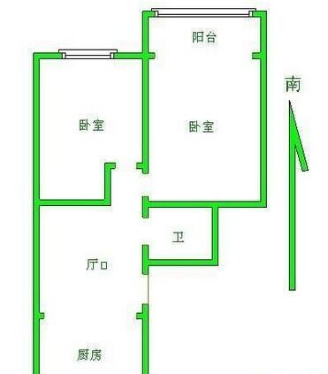 秦淮区瑞金路御道街小区2室1厅户型图
