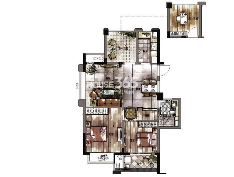西湖君庭4#5#8#12#标准层三房二厅一卫87㎡