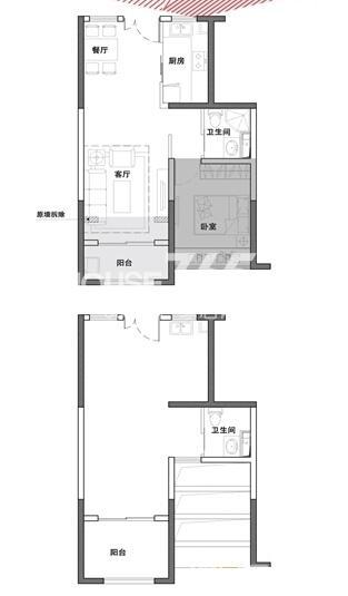 明发新城中心C-3户型 57平方米