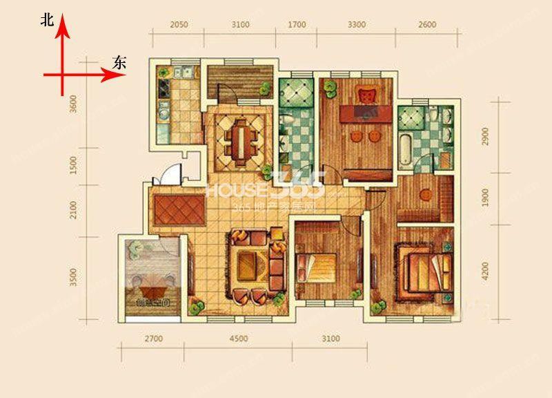 远洋戛纳小镇 户型图 洋房y5户型图三-五层空间