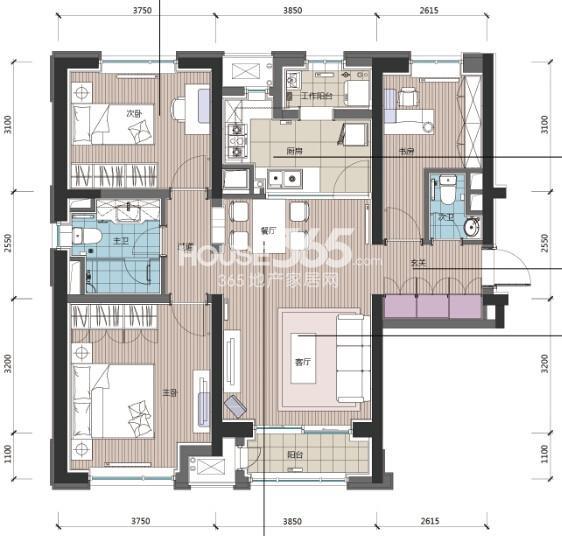 高层A户型 3室2厅2卫 121平米