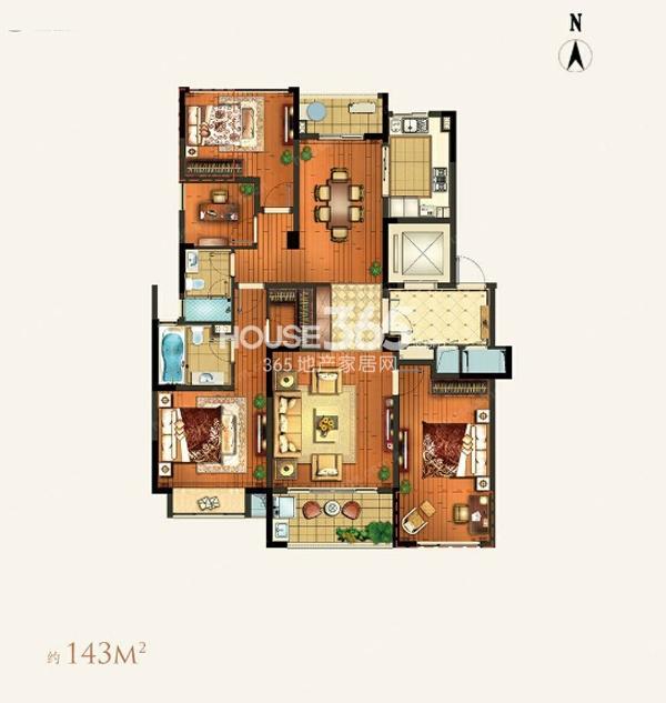 颐和湾花园约143平A-2户型3室2厅2卫