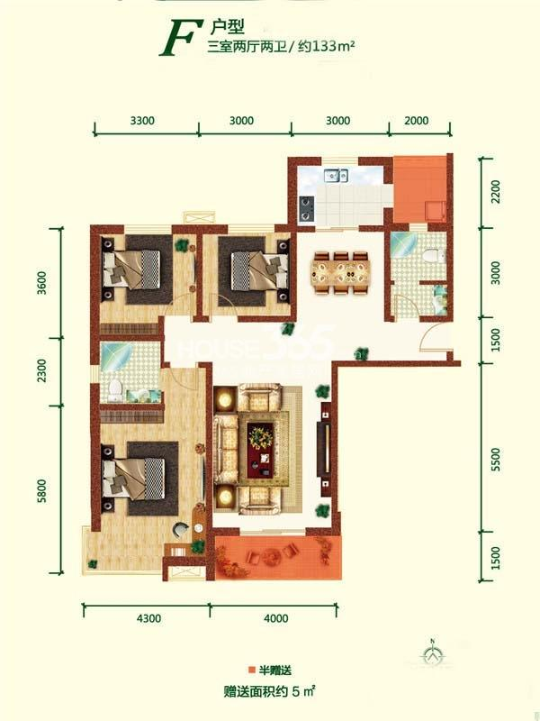 融尚中央住区8#楼F户型三室两厅两卫133㎡