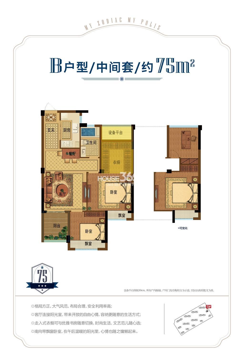 昆盛肖邦B户型中间套75方(13号楼)