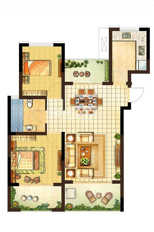 卓兴澜庭户型图高层4#标准层A户面积80.00平米