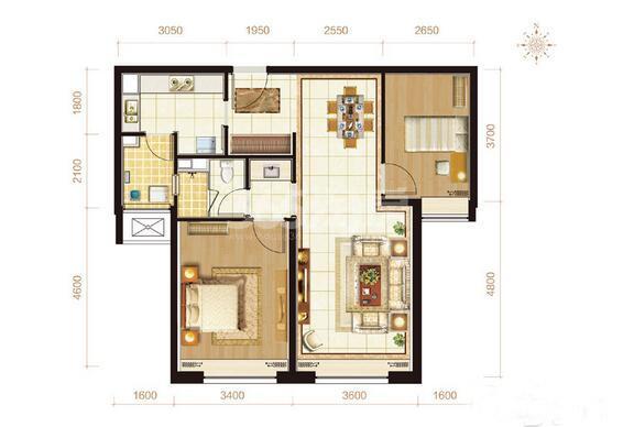 C2户型 两室两厅一卫 91㎡