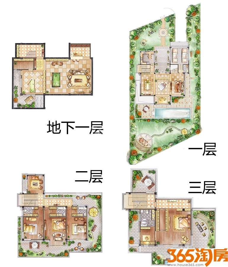 中航樾玺独栋别墅520㎡户型5室3厅5卫