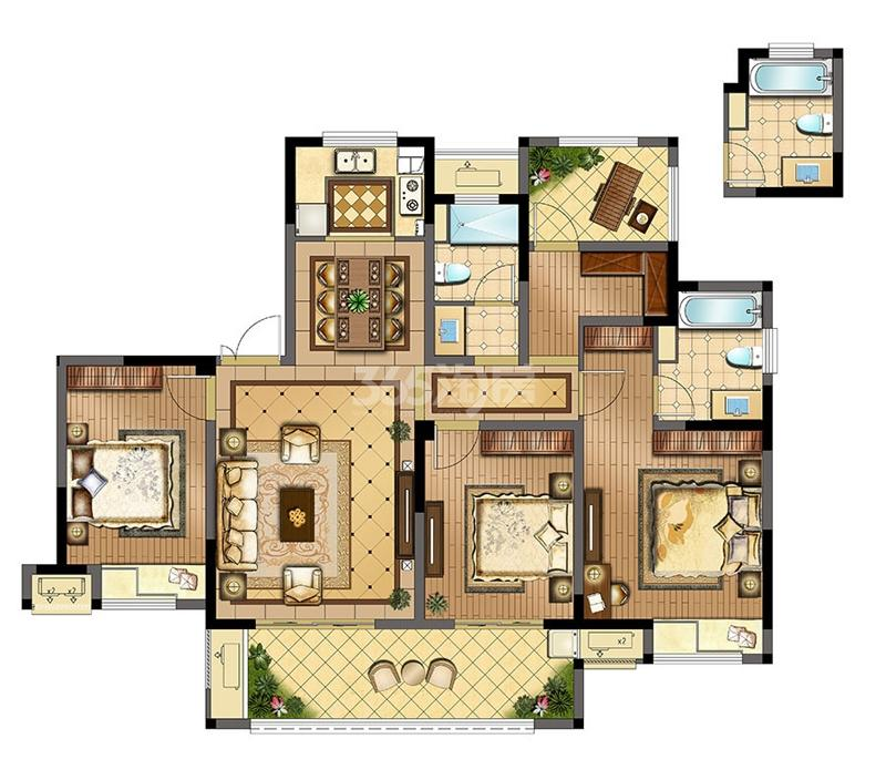 锦悦湾雅园高层C户型142㎡4室2厅2卫