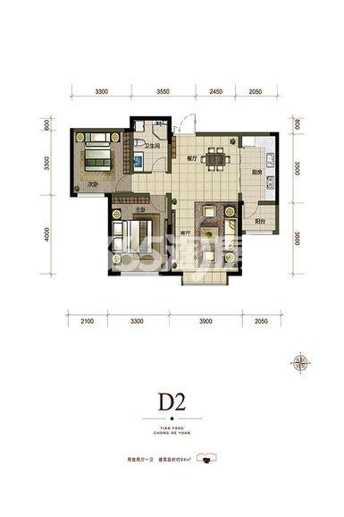 D2户型94㎡ 两居室