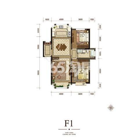 F1户型 104㎡2室2厅1卫