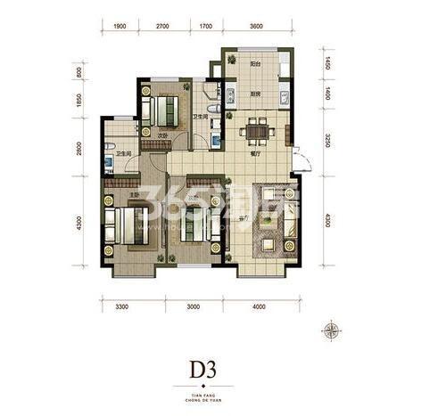 D3户型124㎡ 3室2厅1厨2卫