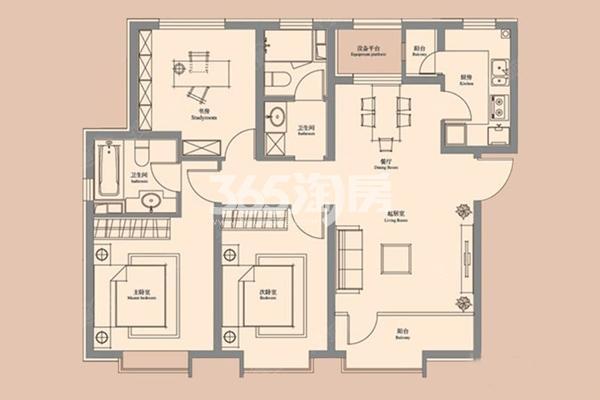 C户型 3室2厅2卫 122㎡