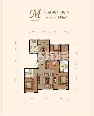 洋房M户型 3室2厅2卫 145㎡ (待售)