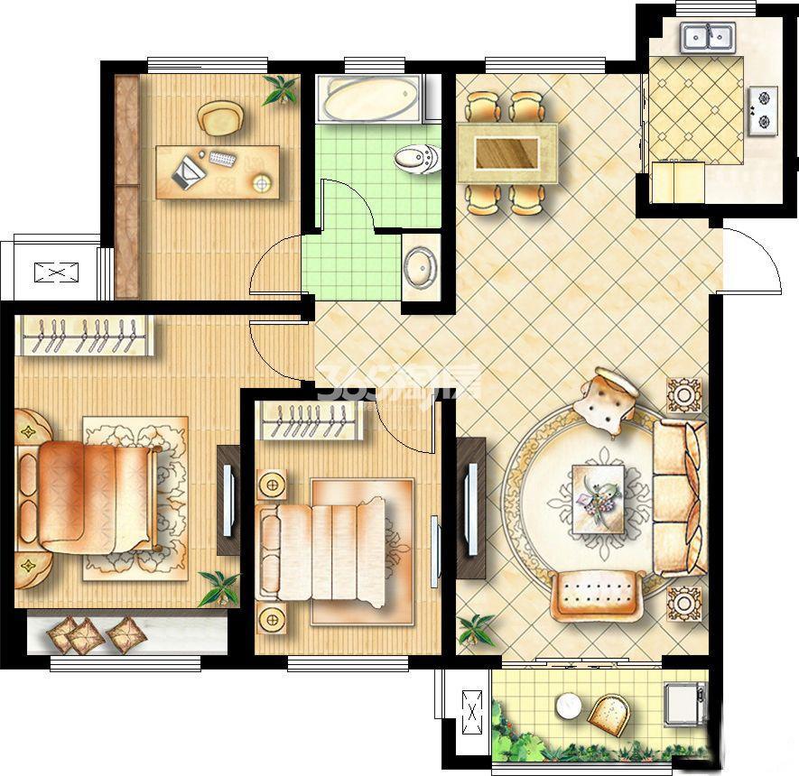 3室2厅1卫117平
