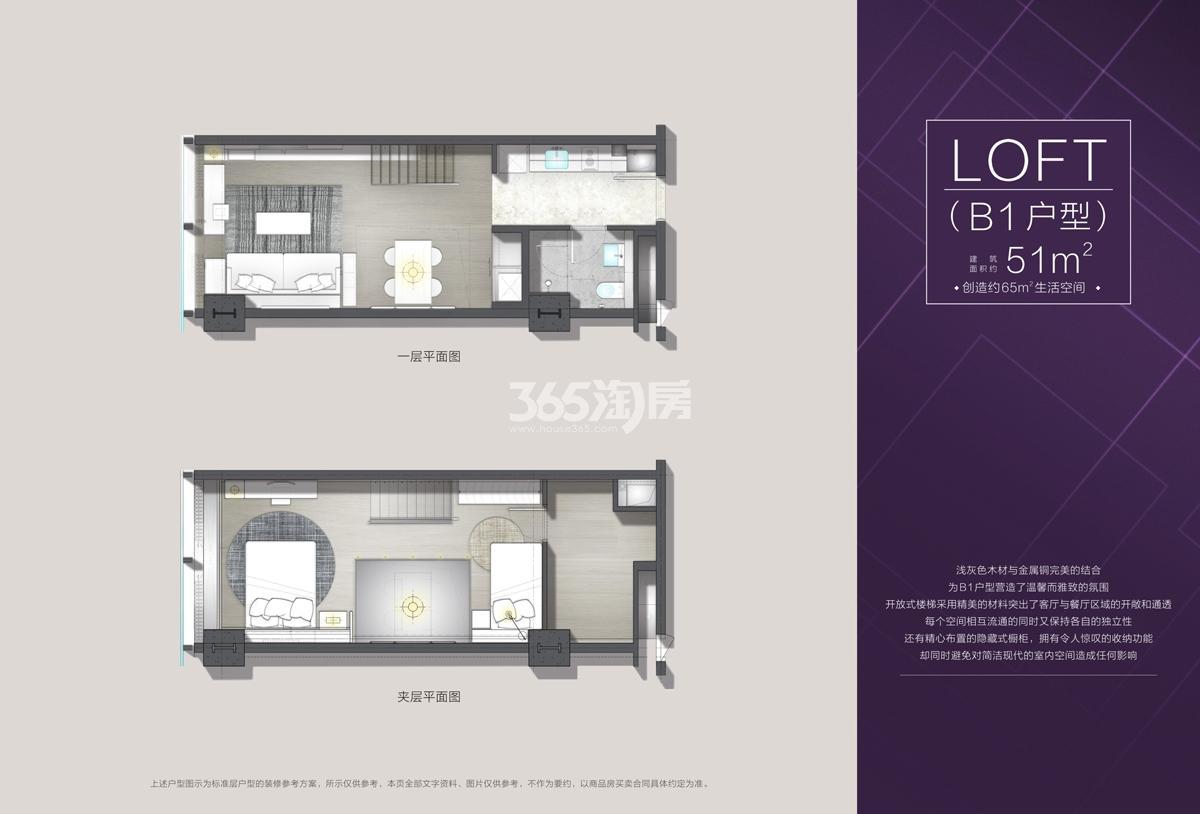 欧美金融城(EFC)项目T7公寓B1户型51方户型图
