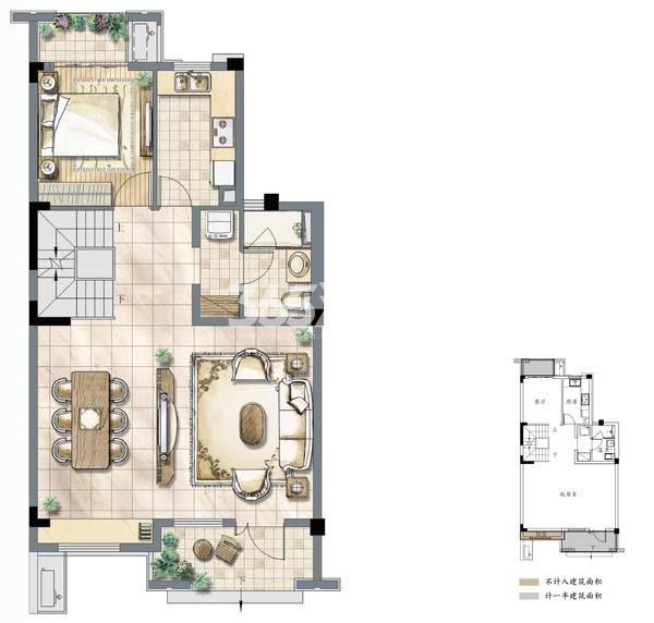 建发独墅湾A1户型一层