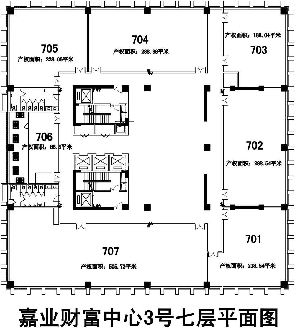 无锡恒大财富中心D栋写字楼7层楼层图