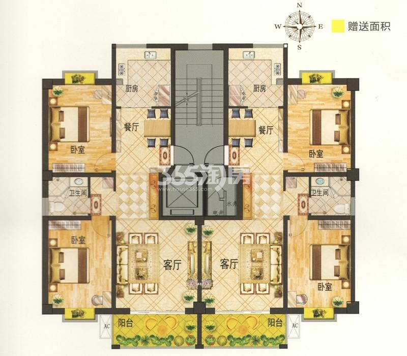 K户型 建筑面积约100.71㎡ 两室两厅一卫