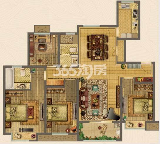 美的乐城4室2厅135㎡户型