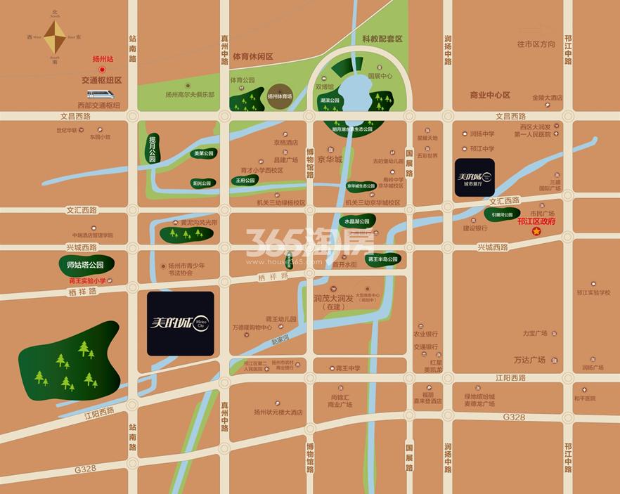 扬州美的城交通图