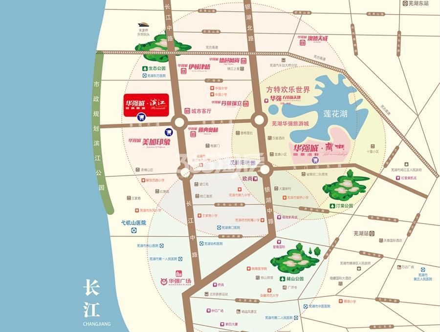 华强城赛纳丽城滨江交通图