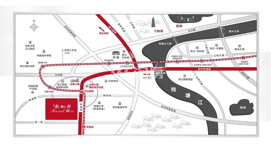 钱江彩虹府交通图
