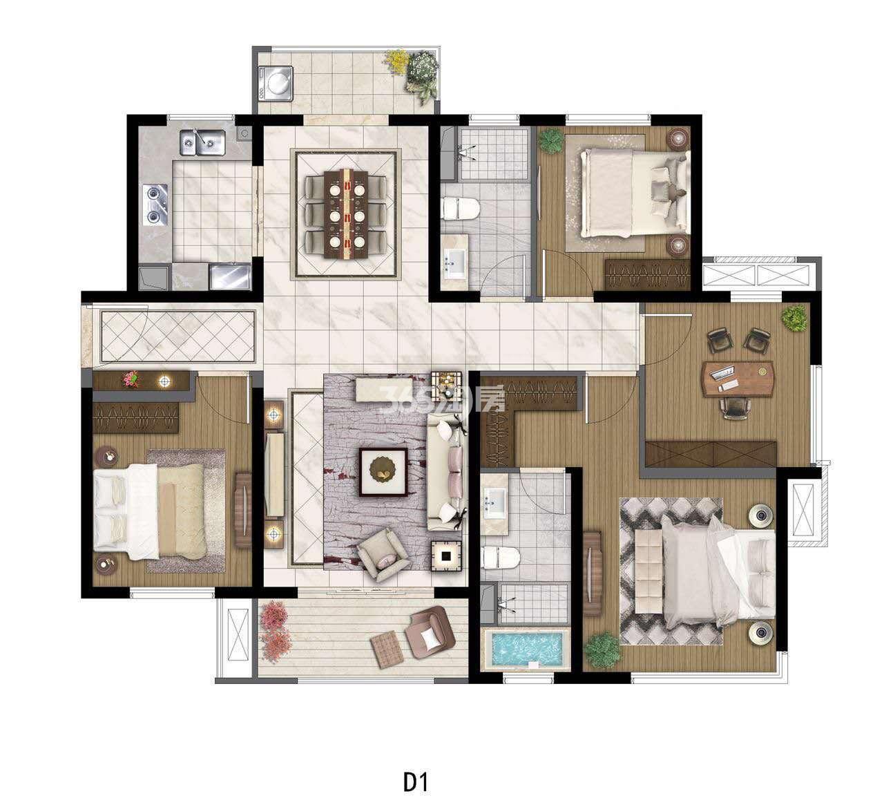 中航国际社区129㎡四室两厅两卫户型图