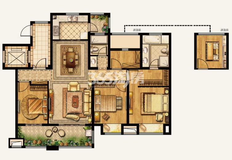 湾上风华B美筑户型 4室2厅2卫0厨 137.00平米