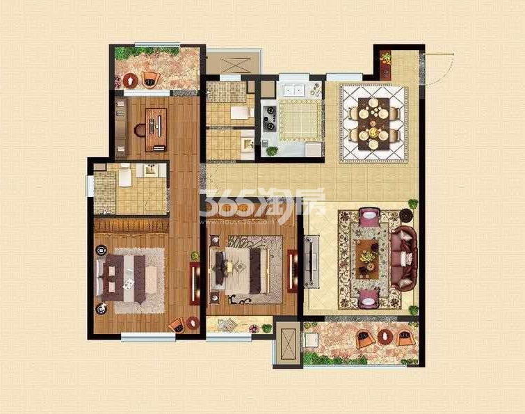 D1户型119㎡三室两厅两卫