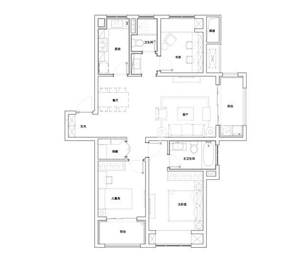 C户型120㎡三室