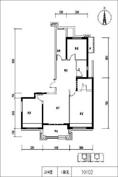 保利天悦3室2厅1卫1厨126.00㎡