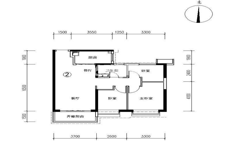 恒大都市广场3号楼2户型 3室2厅1卫1厨 99.53㎡