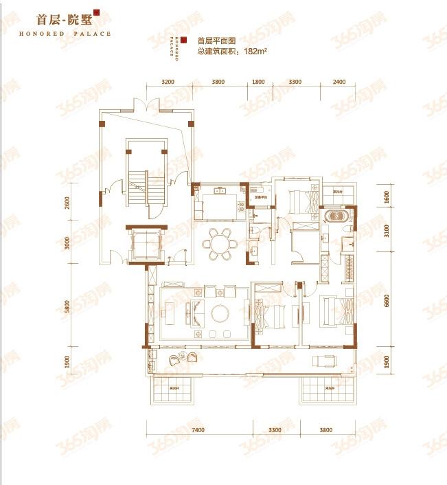 首层院墅户型图——首层平面图