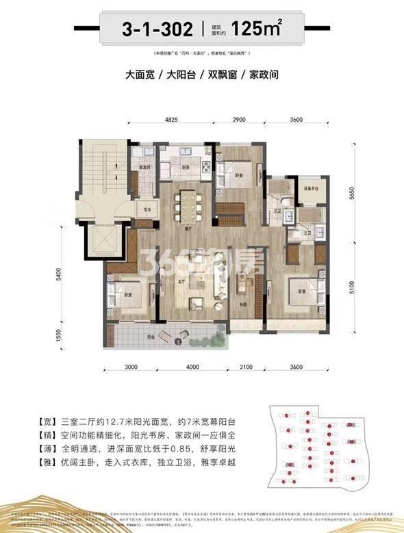万科大溪谷2、3、4、18、19、20、21、39、43号楼中间套125方户型