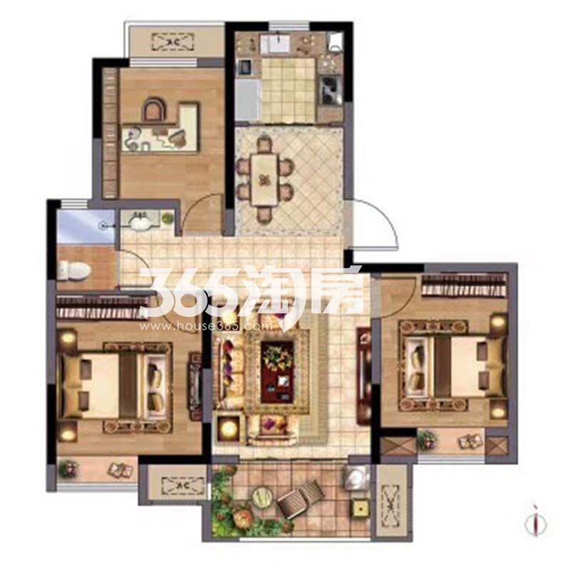 D小高层户型99㎡三室两厅一卫