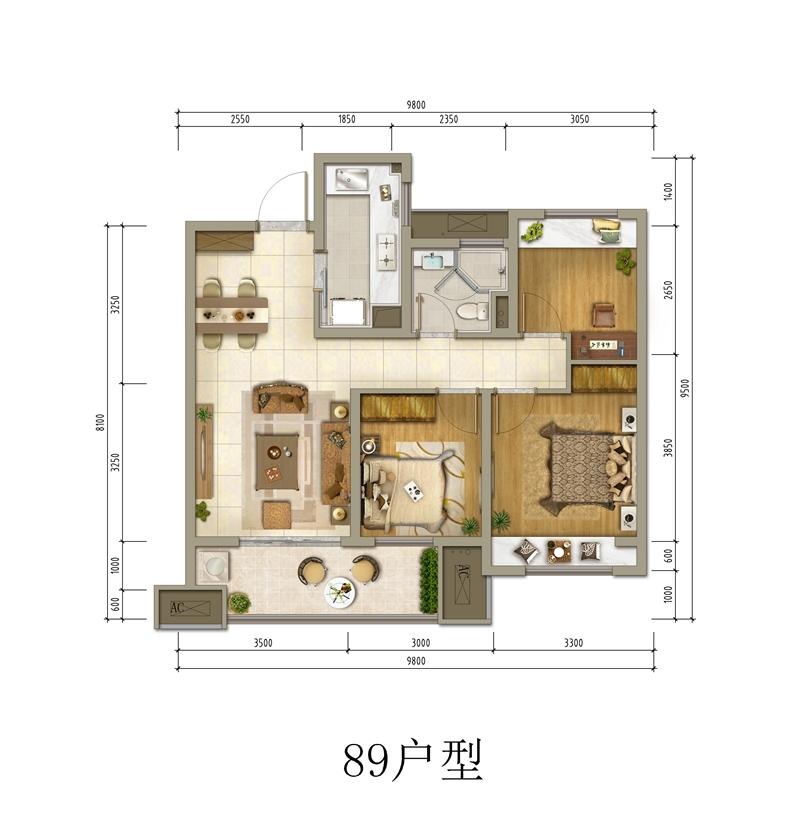89㎡三室两厅一卫